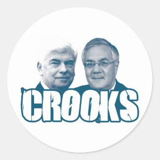 CROOKS: Chris Dodd and Barney Frank Round Stickers