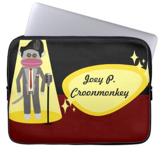 Crooner Sock Monkey Deluxe Computer Sleeve