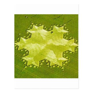 Crop Circle Koch Snowflake Silbury Hill 1997 Postcard