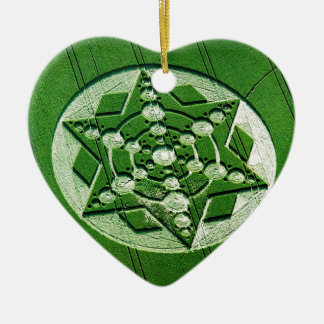 Crop Circle Spinning Star Wiltshire Double-Sided Heart Ceramic Christmas Ornament