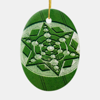 Crop Circle Spinning Star Wiltshire Double-Sided Oval Ceramic Christmas Ornament