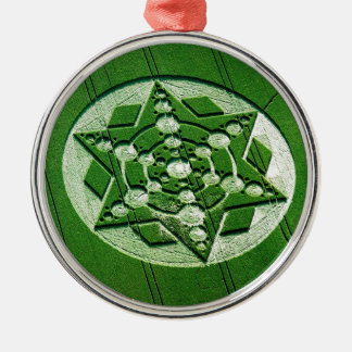 Crop Circle Spinning Star Wiltshire Round Metal Christmas Ornament