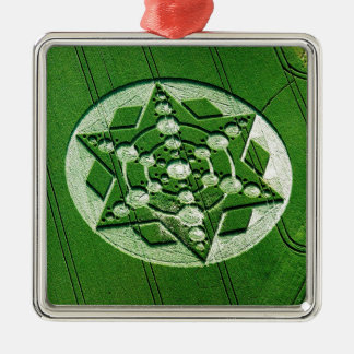 Crop Circle Spinning Star Wiltshire Square Metal Christmas Ornament
