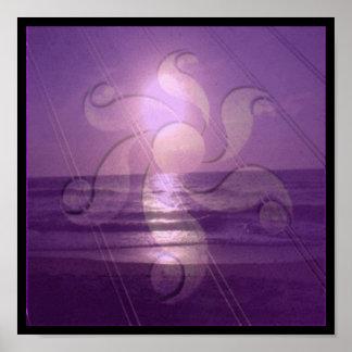 Crop Circle Sunset (purple collage) Poster