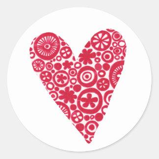 Crop Circles Heart Classic Round Sticker