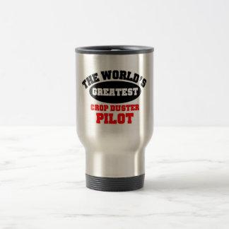 Crop Duster Pilot 15 Oz Stainless Steel Travel Mug
