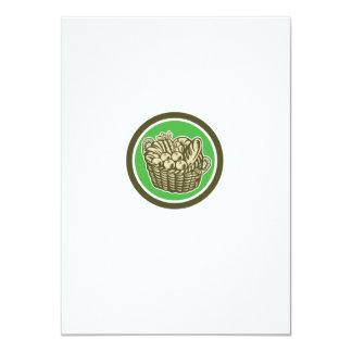 Crop Harvest Basket Circle Retro 4.5x6.25 Paper Invitation Card