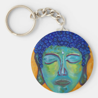 cropped buddah basic round button keychain