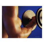 Cropped shot of man lifting weights print