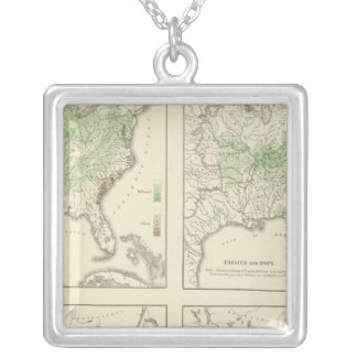 Crops, Statistical US Lithograph Silver Plated Necklace