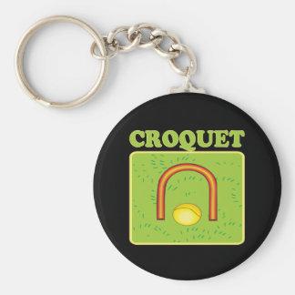 Croquet 6 basic round button keychain