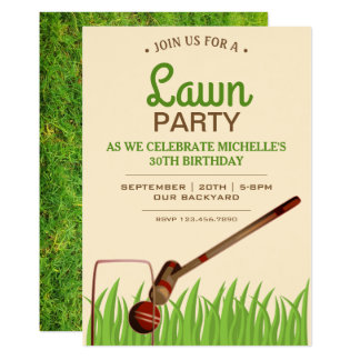 Croquet Backyard Game Lawn Birthday Party Invite