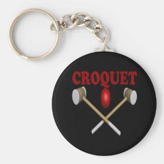 Croquet Basic Round Button Keychain