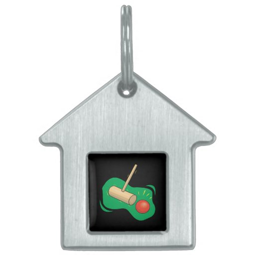 Croquet Club And Ball Pet Tag