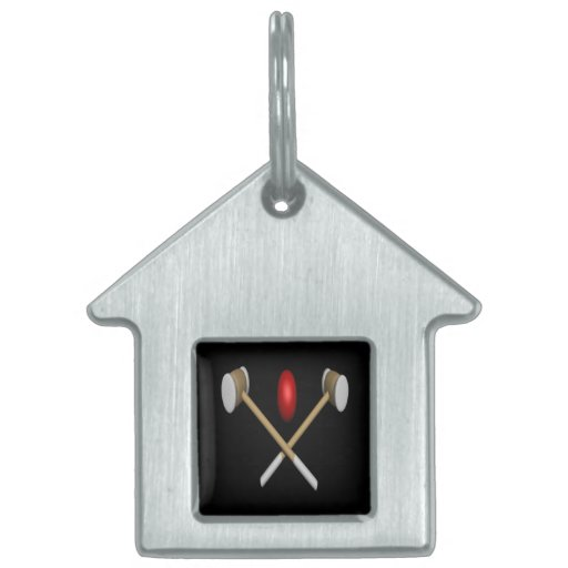 Croquet Clubs And Ball Pet ID Tags