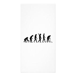 Croquet de la evolución tarjeta fotográfica personalizada