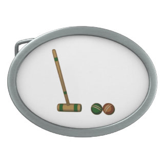 Croquet Mallet and Balls Oval Belt Buckles