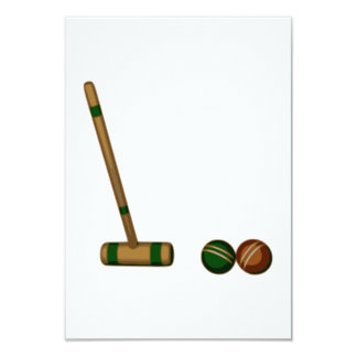 Croquet Mallet and Balls Custom Announcements
