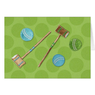 Croquet - Mallets and Balls Card