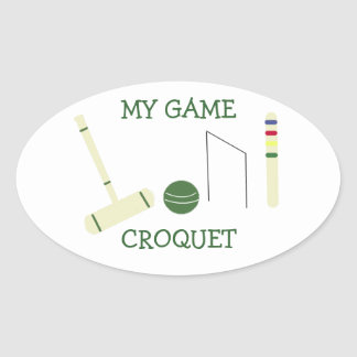 Croquet mi juego pegatina ovalada