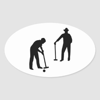 Croquet player oval sticker