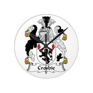 Crosbie Family Crest Round Clocks