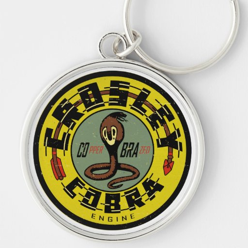 Crosley Cobra Engine distressed vintage sign repro Silver-Colored Round Keychain