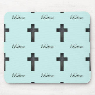 Cross and Believe Pattern Mouse Pad