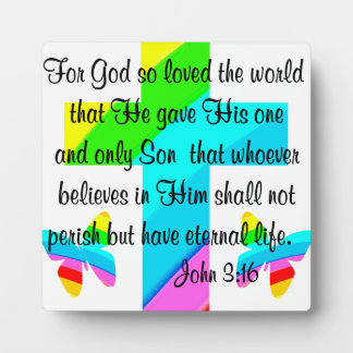 CROSS AND BUTTERFLY JOHN 3:16 DESIGN PLAQUE