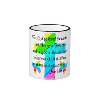 CROSS AND BUTTERFLY JOHN 3:16 DESIGN RINGER COFFEE MUG