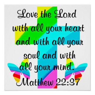 CROSS AND BUTTERFLY MATTHEW 22:37 DESIGN POSTER