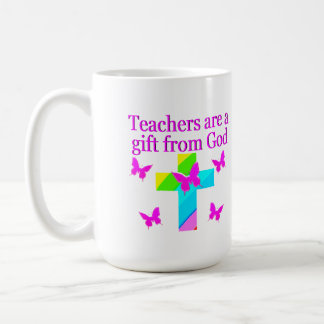 CROSS AND BUTTERFLY TEACHERS BLESSING DESIGN COFFEE MUG