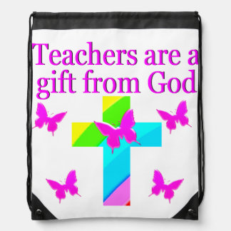 CROSS AND BUTTERFLY TEACHERS BLESSING DESIGN DRAWSTRING BAG