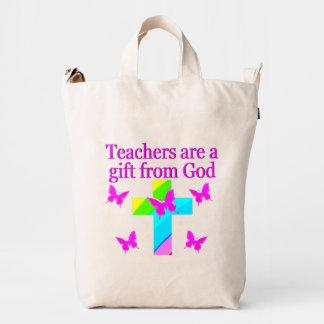 CROSS AND BUTTERFLY TEACHERS BLESSING DESIGN DUCK BAG