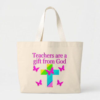 CROSS AND BUTTERFLY TEACHERS BLESSING DESIGN LARGE TOTE BAG