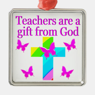 CROSS AND BUTTERFLY TEACHERS BLESSING DESIGN METAL ORNAMENT