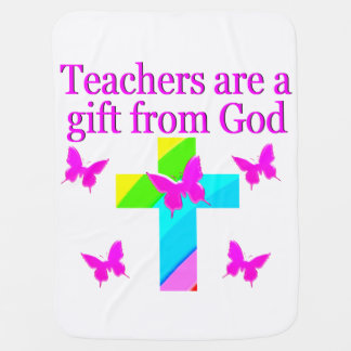 CROSS AND BUTTERFLY TEACHERS BLESSING DESIGN SWADDLE BLANKET