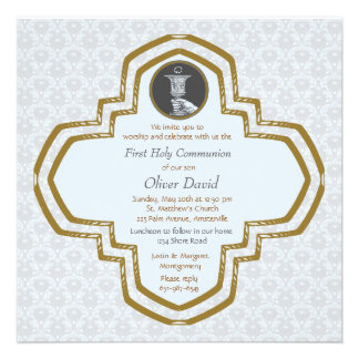 Cross and Chalice Blue Religious Invitation