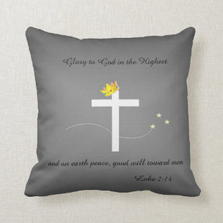 Cross and Crown design on gray 16x16 pillow