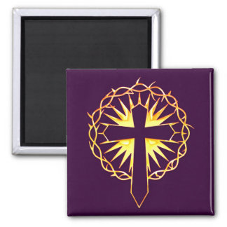 Cross and Crown of Thorns 2 Inch Square Magnet