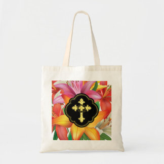 Cross and Crown of Thorns with Lilies Tote Bag