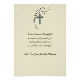 Cross and Fern (Cream) - Bereavement Thank You Not Card