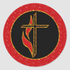 Cross and Flame Classic Round Sticker