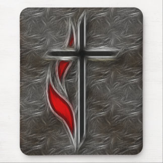 CROSS AND FLAME MOUSE PAD