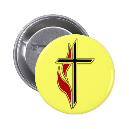 CROSS AND FLAME PINBACK BUTTON