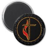 Cross and Flame Refrigerator Magnets