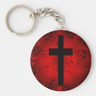 CROSS AND FLORAL RED PATTERN KEY CHAINS
