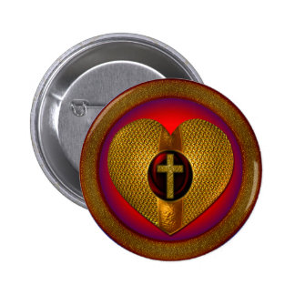 CROSS AND HEART 2 INCH ROUND BUTTON