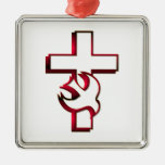 Cross and Holy Spirit / Holy Ghost Metal Ornament
