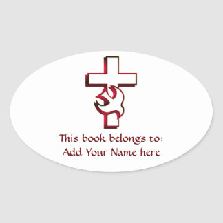 Cross and Holy Spirit / Holy Ghost Oval Sticker